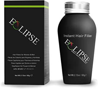 Eclipse Hair Building Fibers & Beard Filler - Instant Hair Fillers Thinning Hair, Beard & Partial Hair Loss – Suitable for All Hair Types - Hair Loss Concealer for Men & Women - 60 Gram - Medium Brow