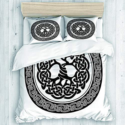 DAHALLAR Duvet Cover Set,Native Celtic Tree of Life Figure Ireland Early Renaissance Artsy Modern Design,Decorative 3 Piece Bedding Set with 2 Pillow Shams Queen Size
