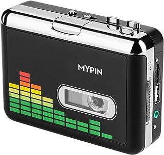 MYPIN 高品質カセットテープUSB変換プレーヤー MP3コンバーター カセットテーププレーヤー MP3曲の自動分割 USBフラッシュメモリ保存 オートリバース機能搭載 CE/FCC/ROHS認証済み イヤホン付属 日本語取扱説明書付き