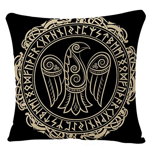 YGGQF Throw Pillow Covers Magic Viking Raven Celtic Scandinavian Norse Pattern Odin Vintage Abstract Amulet Ancient Bird Design Home Decor Pillow Case 18x18 Inch Pillowcase