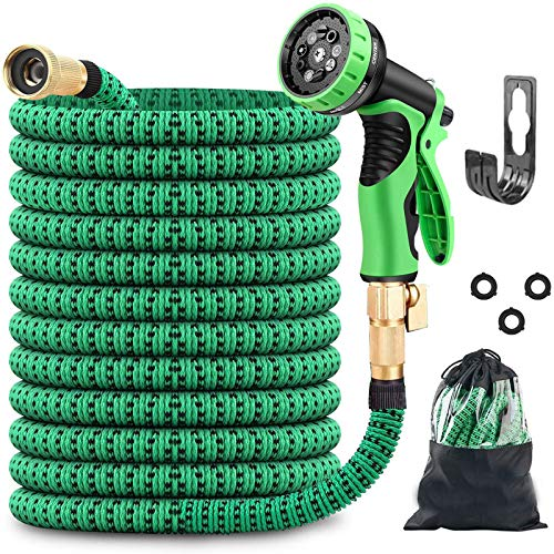 ZAselect Garden Hose 150ft 45m Expandable Strongest Double Latex Inner Tube Prevent Leaking Magic Hosepipe with 9 Function Spray Gun+Solid Brass Fittings Extended version 150FT-45M