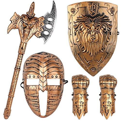 Kinderspeelgoed imitatie brons bestrijding apparatuur algemene cosplay mini pols schild masker bijl jongen jongen gift plastic set (Color : ZF6232 T1)