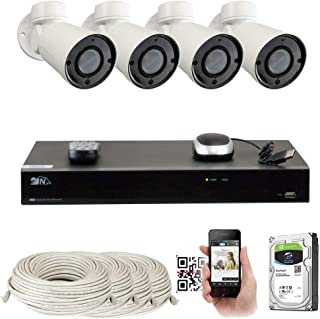 GW 8 Channel H.265 4K NVR 5MP IP Network PoE PTZ Camera System, 4pcs 5MP 1920p PoE 4X Optical Pan Tilt Zoom Bullet Security Camera, 130ft Night Vision, 2TB Hard Drive Included