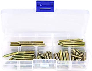 110pcs Hanger Bolts M4 Dowel Screw Iron Double Ended Screws Zinc Plating Self Tapping Threaded Rods Bars Studs Woodworking