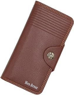 BeniNew men's long wallet men's leisure PU wallet-light brown