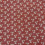 Stoff Meterware Baumwolle rot Streublümchen