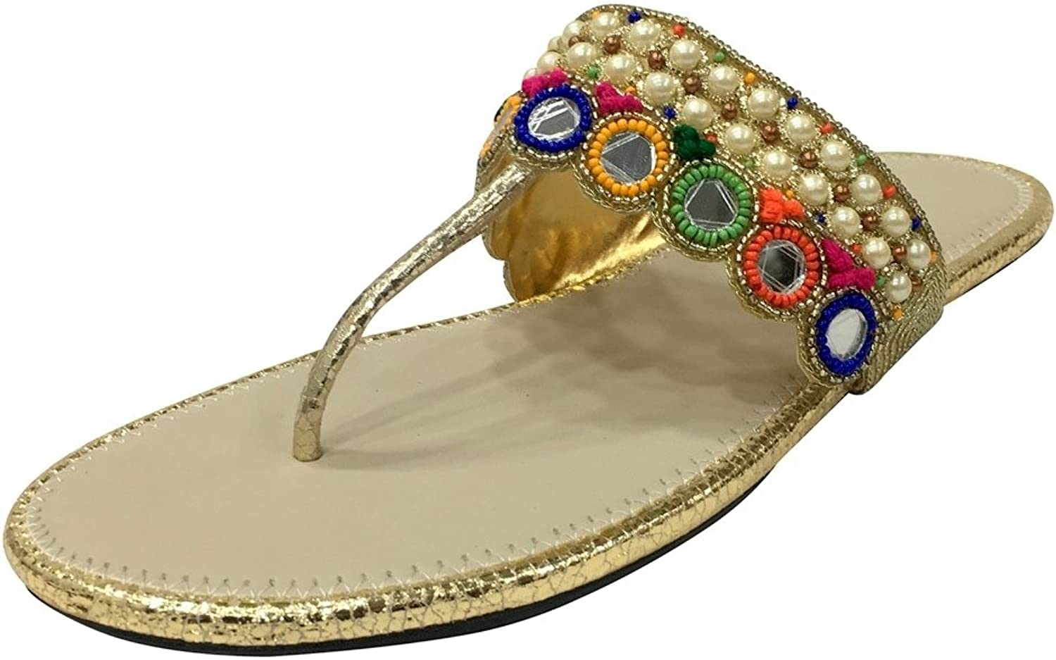 Step n Style Flat Beaded Sandals Ethnic Sandals Indian Handmade Sandals Beaded Jutti