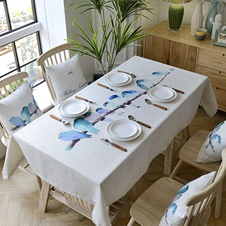90130cm bleu Bird scandinave minimaliste Instagram Nappe en coton et lin à hommeger Jardin pique-nique rectangulaire voitureré respectueux de l'environneHommest couvrant