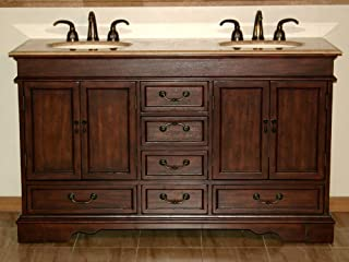 Silkroad Exclusive HYP-0715-T-UIC-60 Travertine Stone Double Sink Bathroom Vanity with Furniture Bath Cabinet, 60