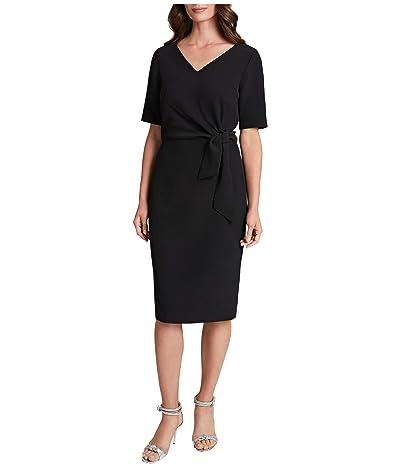Tahari by ASL Side Tie Stretch Crepe Short Sleeve Dress (Black) Women