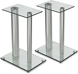 Mount-It! Bookshelf and Floor Speaker Stands for Surround Sound Home Theaters, 18 Inch High, 22 Lbs Capacity, Tempered Gla...