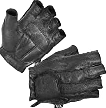 Milwaukee MOTORCYCLE RIDING LEATHER AMERICAN DEER SKIN FINGERLESS GLOVES VERY SOFT LEATHER (XL Regular)