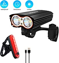 Bicycle Light Set Bike Head Light & Tail Light Set, Waterproof Front Rear Light Sets, Headlight & Taillight for Mountain Bicycle MTB BMX Road Cycling Camping Outdoor Sports (USB Rechargeable, Black)