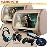 XTRONS Beige 2X 9 Twin Car Headrest DVD Player Pillow HD Touch Screen Monitor MP3 Game Disc IR Headphones [並行輸入品]