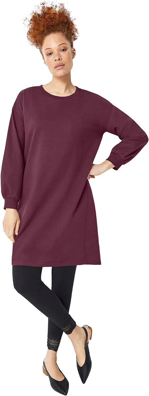 ellos Women's Plus Size Blouson Sleeve Sweatshirt Tunic Dress