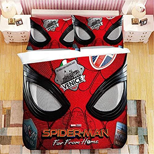 YZHY - Copripiumino con motivo Spiderman con federe, biancheria da letto a tema anime di disegno animale, tessuto in poliestere morbido, per bambini adulti camera (a) 220 x 240 cm
