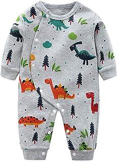 WFRAU Baby Strampler Jungen Mädchen Taste Lange Ärmel Dinosaurier Druck Overalls Schlafanzug Säugling Spielanzug Baby-Nachtwäsche Hosen Tops Jumpsuit Outfit Body Bodysuit Kimono