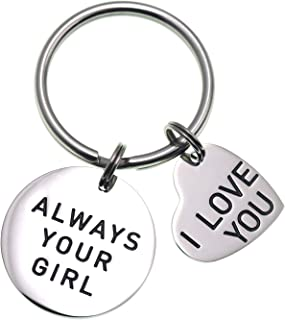LParkin Boyfriend Gifts Always Your Girl I Love You Stainless Steel Keyring Wedding Gifts I Love You Gifts for Him