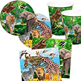 Folat 37-teiliges Set * Safari & Zoo * mit Pappteller + Servietten + Becher + Deko für Kindergeburtstag Teller Becher Geschirr Party Deko Dekoration Kinder Geburtstag Mottoparty