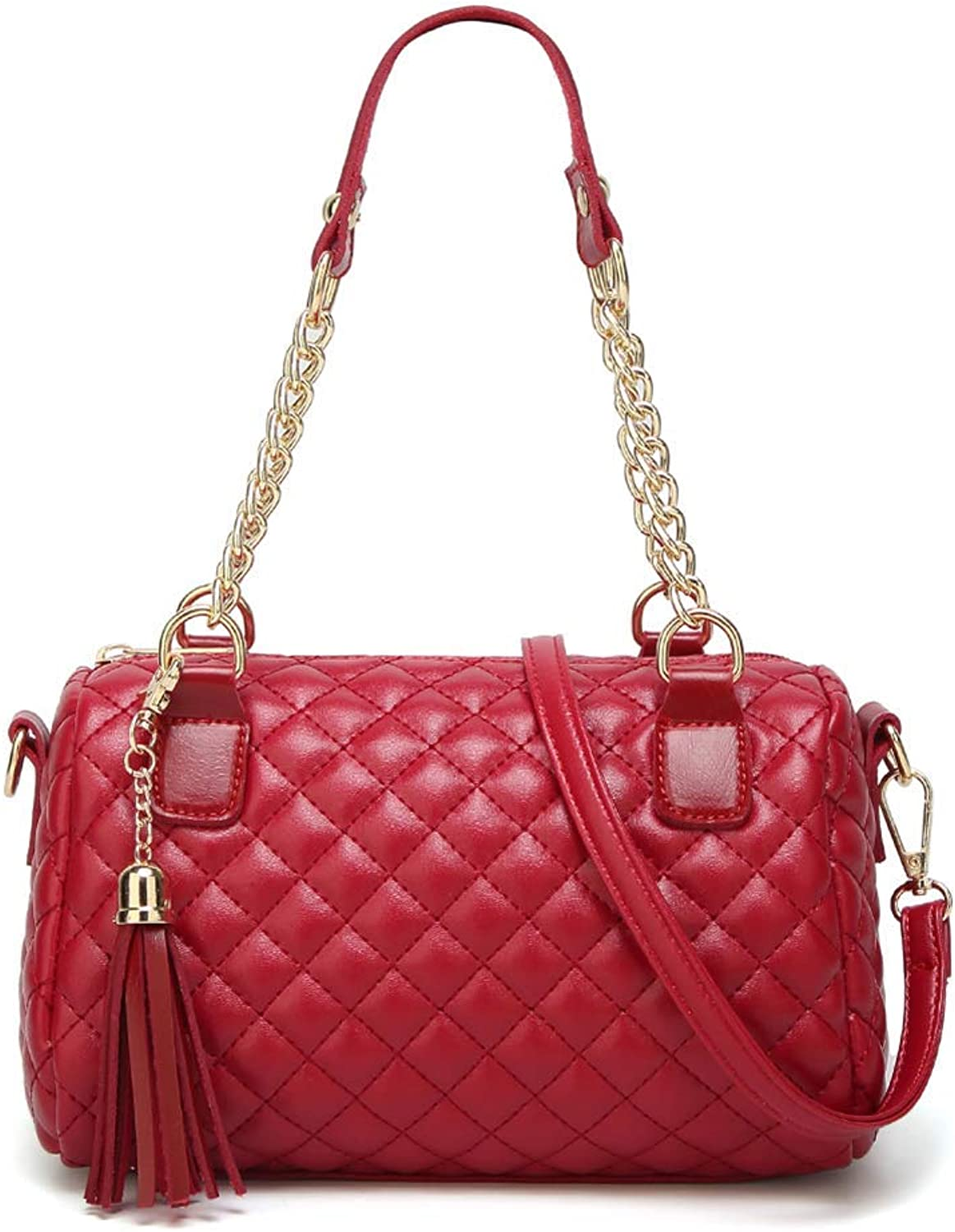 Ladies Handbag Shoulder Crossbody Bag,Soft PU Leather Quilted Clutch Evening Simple Fashion Handbag Wallet,Red (color   Red)