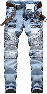 YOUTHUP Mens Jeans Slim Fit Straight Leg Fashion Casual Ripped Denim Trousers
