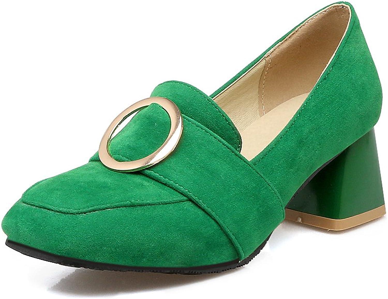 AIWEIYi Women Pumps Square Med Heel Slip on Platform Casual Dress shoes Black