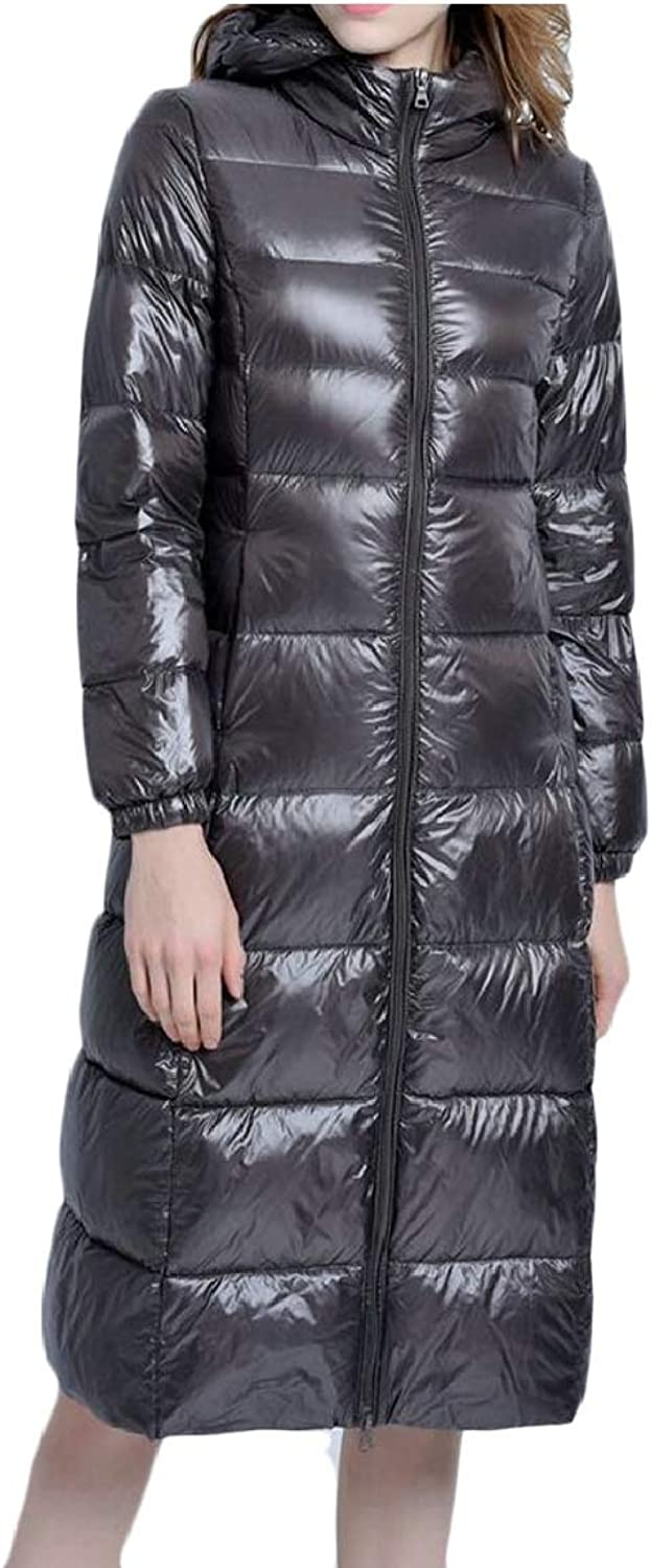 Qiangjinjiu Women Thicken Puffer Coat Hooded Long Down Parka Jacket Overcoat