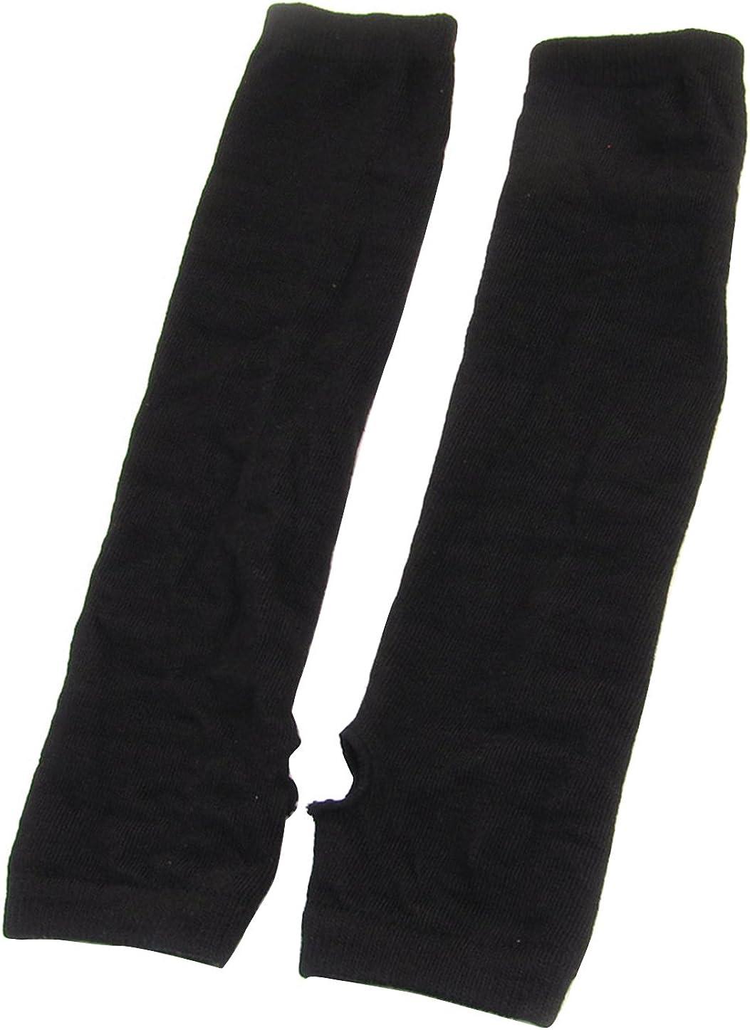 Allegra K Black Knitted Fingerless Long Gloves Arm Warmers Pair for Lady