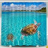 Cortina de Ducha, Cortina de Ducha Transparente, fotomontaje de Tortugas en la Playa de Akumal en la Riviera Maya de México Maya Juego de baño de decoración Impermeable con Ganchos