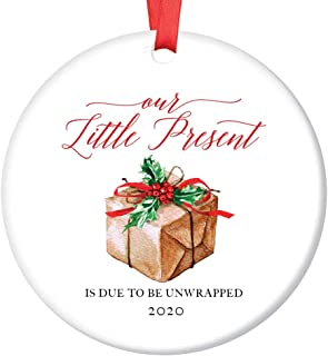 Pregnancy Announcement Ornament Baby Due Date 2020 Our Little Present Expecting Newborn Soon Surprise Grandparents Family Christmas Keepsake 3