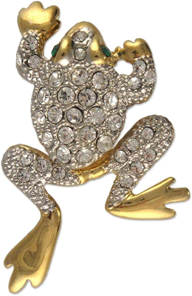 MOVEABLE Crystal Rhinestone Frog Brooch Made with Swarovski Elements