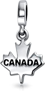 Canadian Travel Dangle Canada Maple Leaf Bead Charm For Women For Teen Oxidized 925 Silver For European Bracelet