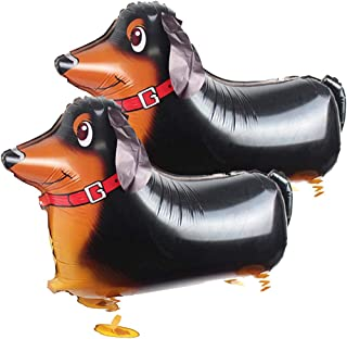 SUKRAGRAHA Reusable Aluminum Foil Auto-sealing Walking Pet Dog Dachshund Balloon Black 2 pc