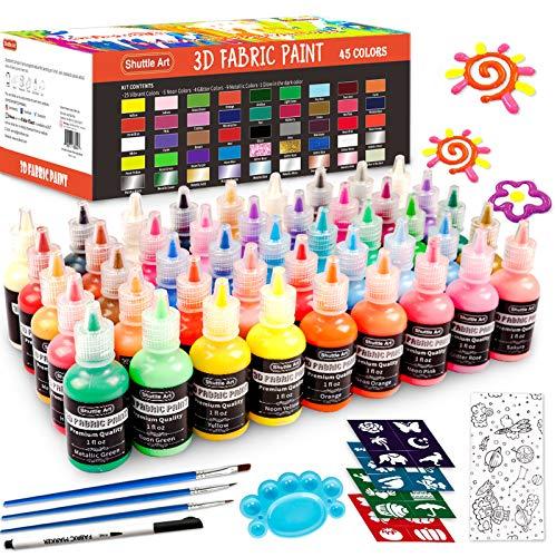 Pintura para tela, 45 colores Pintura permanente para tela 3D con 3 pinceles 1 paleta 1 bolígrafo para tela 1 hoja para tela 4 plantillas, brilla en la oscuridad, brillo