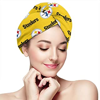Marrytiny Custom Pittsburgh Steelers Women Microfiber Hair Towel Wrap Turban Head Towels with Button Quick Dry Magic Hat Shower Bath Wrapped Cap for Long Curly Hair Girls