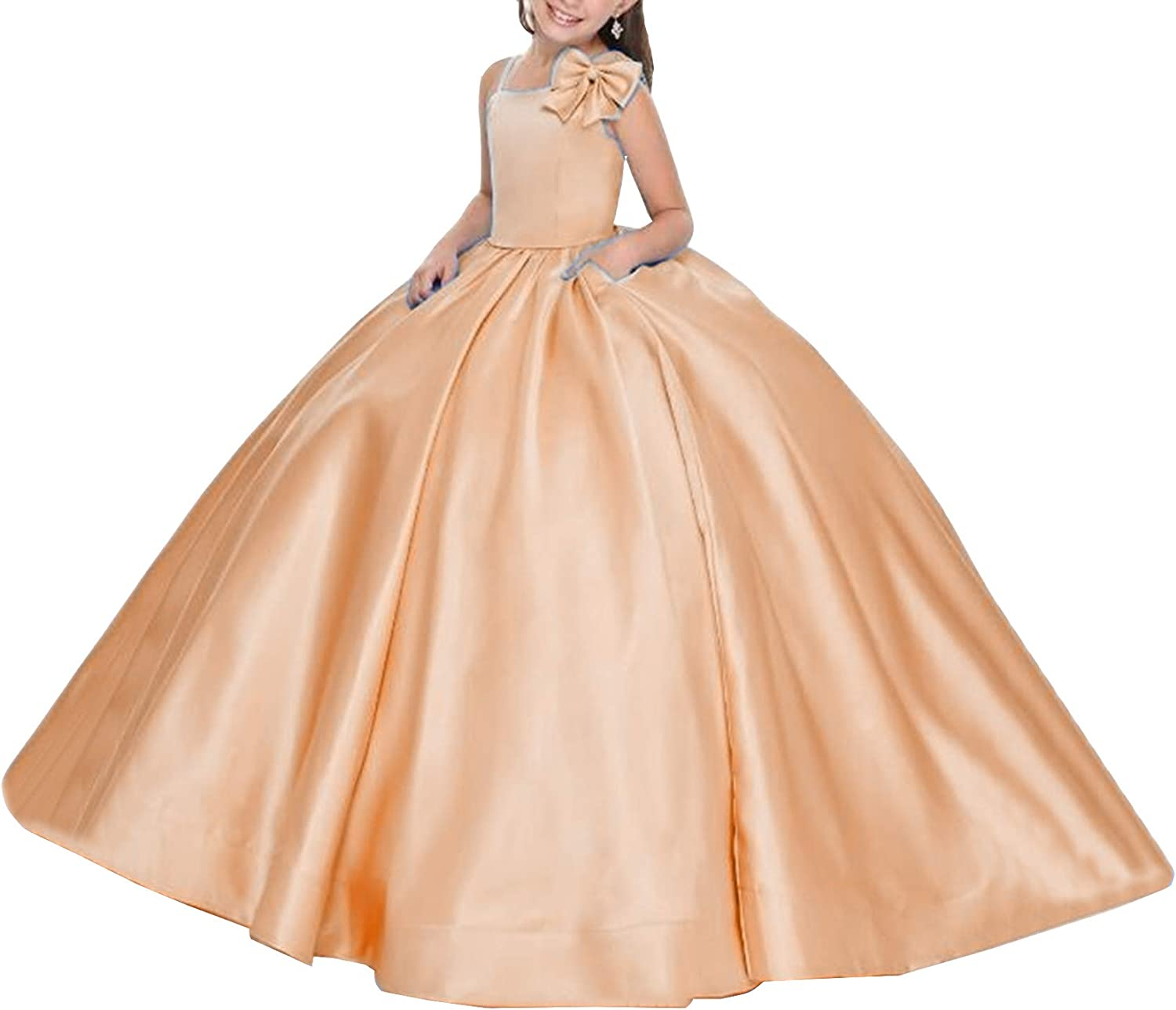 Honeydress Girl's Simple Bow Flower Girl Dresses Cold Shoulder with Pockets Girls Pageant Dress