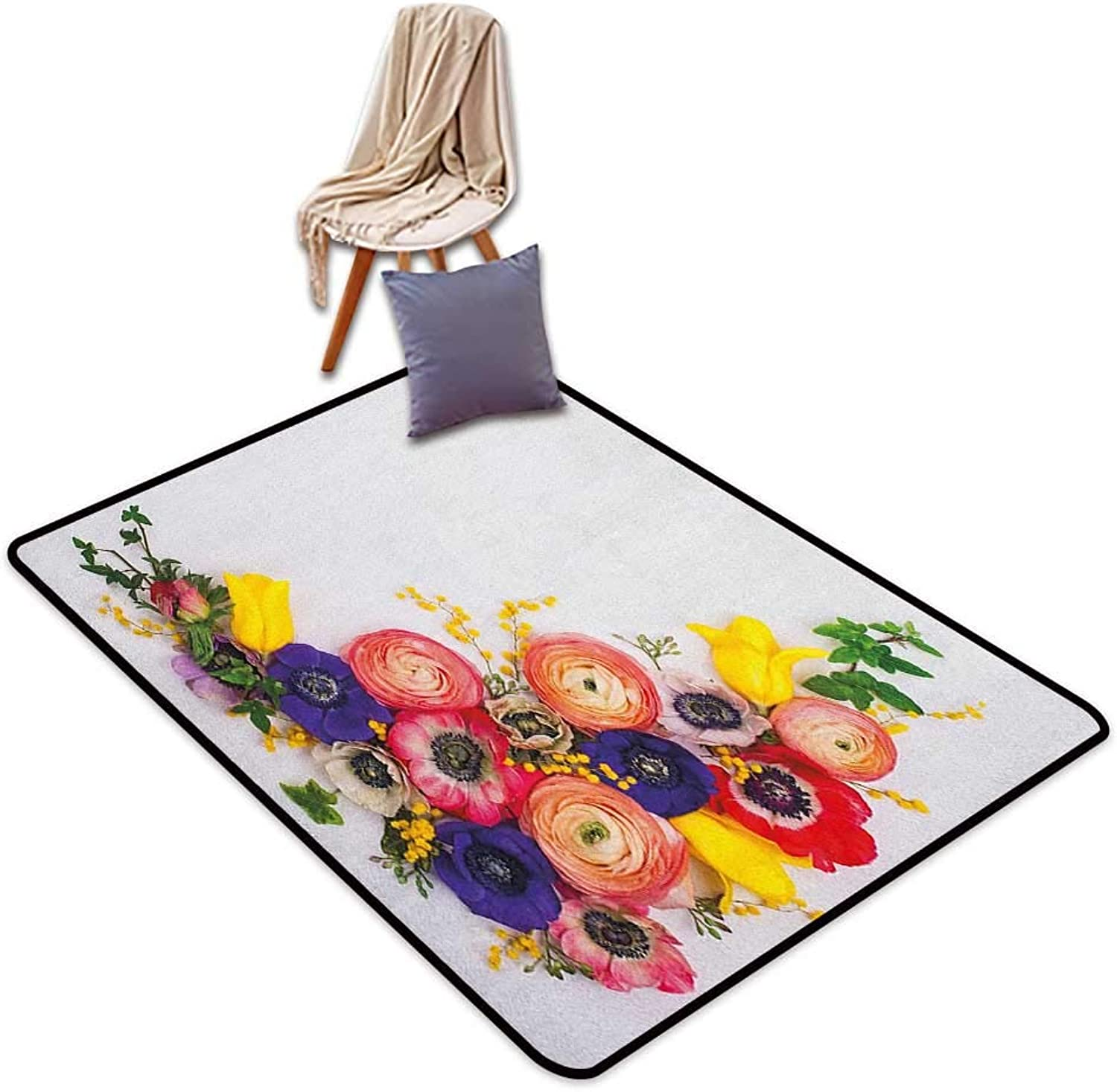 Interior Door Rug Bathroom Rug Slip Anemone Flower Festive Floral Composition with English pinks Fresh Buttercups and Herbs Door Rug Increase W6'xL8'