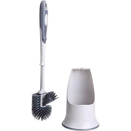 Juego de escobilla, escobilla para inodoro y soporte para inodoro de baño, color blanco