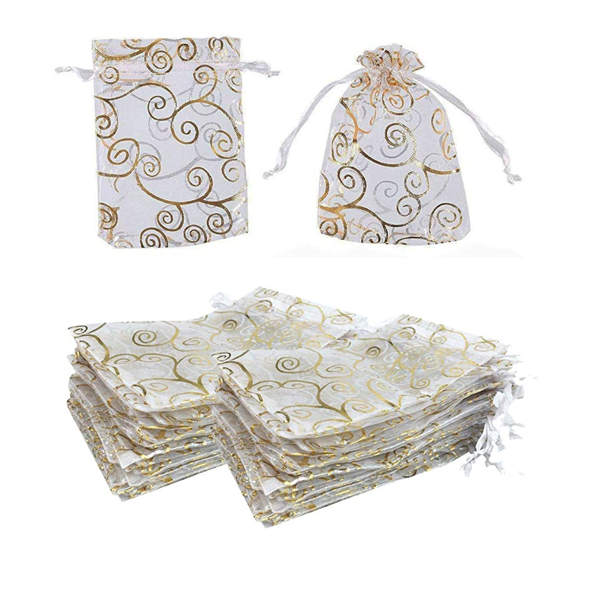 100pcs Organza Drawstring Pouches Candy Jewelry Mesh Favor Bags Wedding Christmas Party Gift Bags,3.5x4.7 Inches (Gold White)