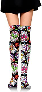 MKLOS 通気性 圧縮ソックス Breathable Classic Warmer Tube Leg Stockings Dead Sugar Skull Exotic Psychedelic Print Compression High Tube Thigh Boot Stockings Knee High Women Girl