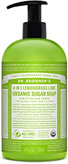 Dr. Bronner's - Organic Sugar Soap (Lemongrass, 24 Ounce) - Made with Organic Oils, Sugar and Shikakai Powder, 4-in-1 Uses: Hands, Body, Face and Hair, Cleanses, Moisturizes and Nourishes, Vegan