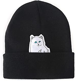 MIOIM Middle Finger Cat Hip Hop Beanie Knitted Hat Punk Rock Cap