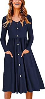Women's Long Sleeve V Neck Button Down Skater Dress with...
