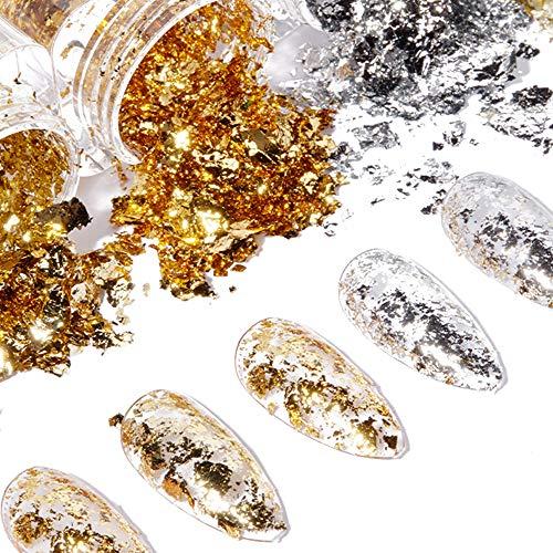 MKUHBG Blattgold Nailart Goldfolie Holographische Nagelpailletten Set Folien Nagelfolienaufkleber Glitter Blattgold Nailart 6 Döschen Folien Nail Art Chip für DIY Nagel Kunst Dekorationen