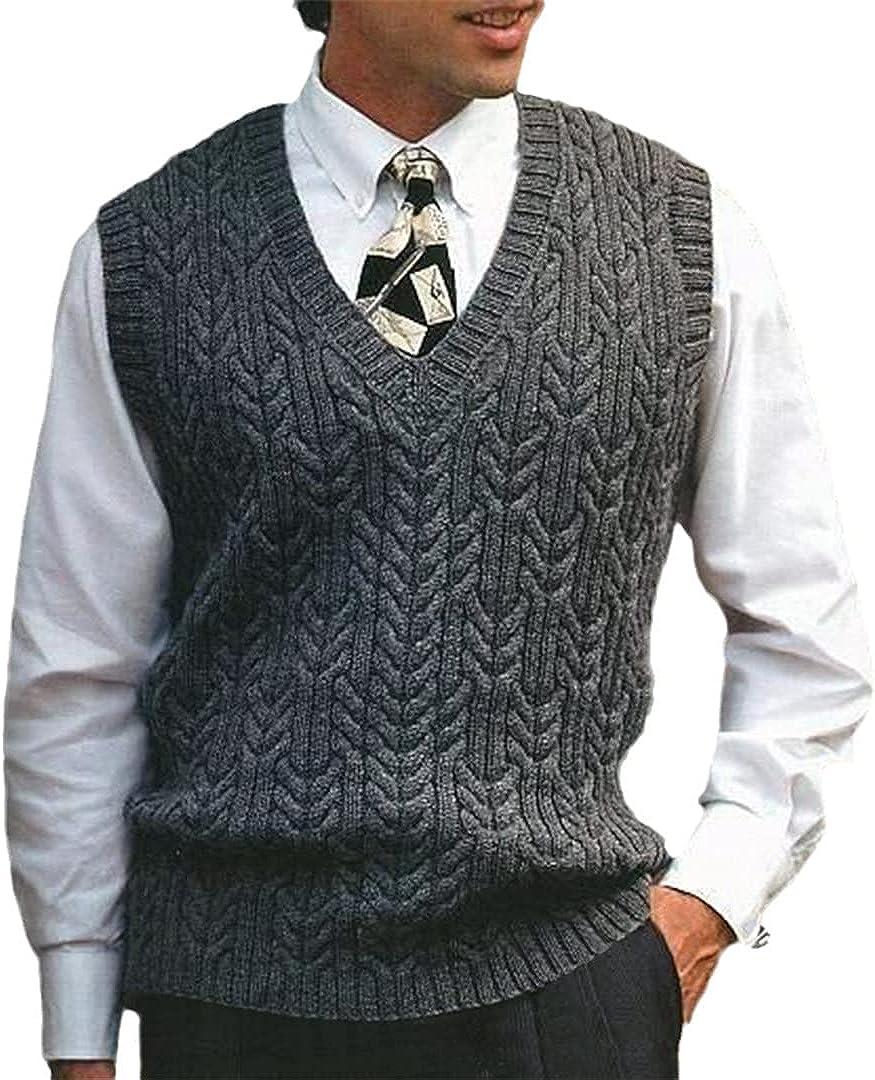 EGFIOKMJHT Autumn Winter Solid Color Slim-Fit Sweater Vest Men's Casual Sleeveless V-Neck Warm Knitted Vest