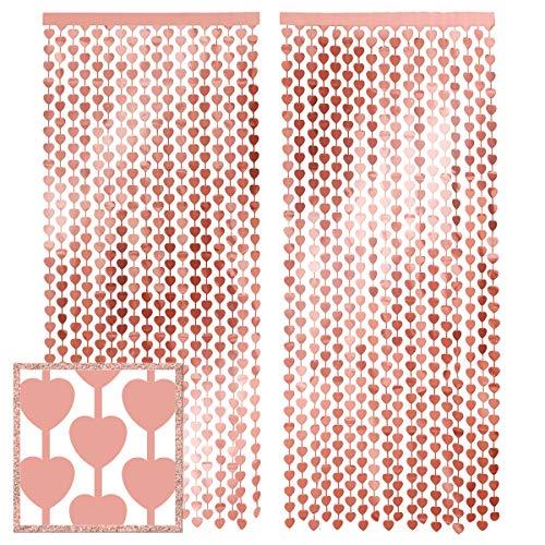 Xo, Fetti - Cortina de papel de aluminio con forma de corazón, 2 unidades, 91 x 2,1 m, con flecos metálicos para el día de San Valentín, decoración de despedida de soltera, telón de fondo de cumpleaños, cabina de fotos de boda, compromiso, despedida de soltera