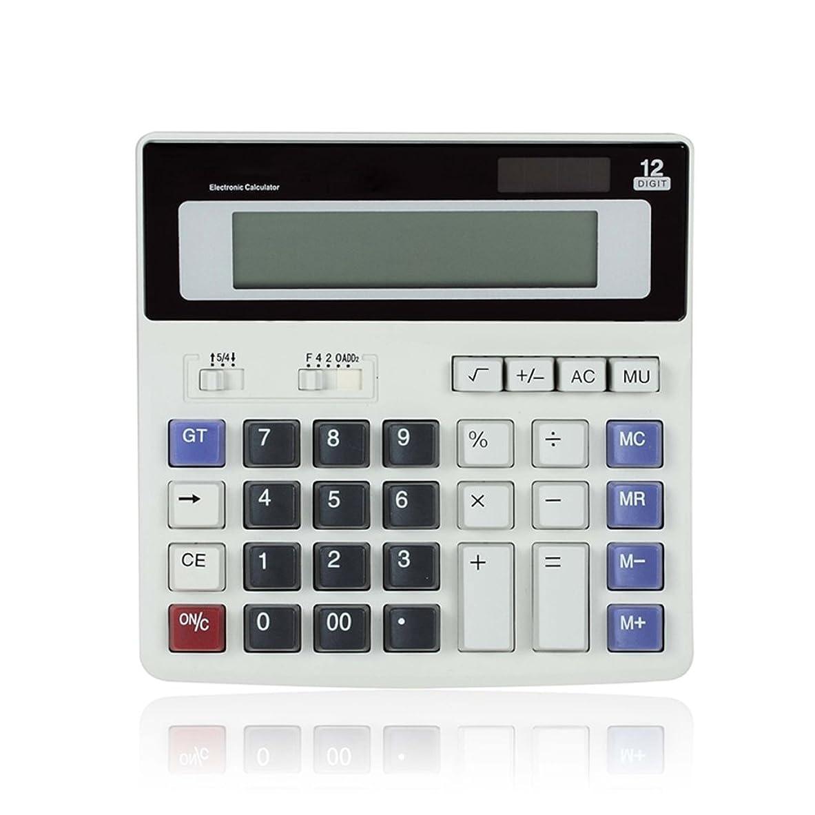 ピンポイント強制スリチンモイ電子計算ビジネスMini Solar AAバッテリ基本的なデスクトップFinancial科学的オフィス電卓、単純なデスク電卓12桁大型LCD表示 グレー