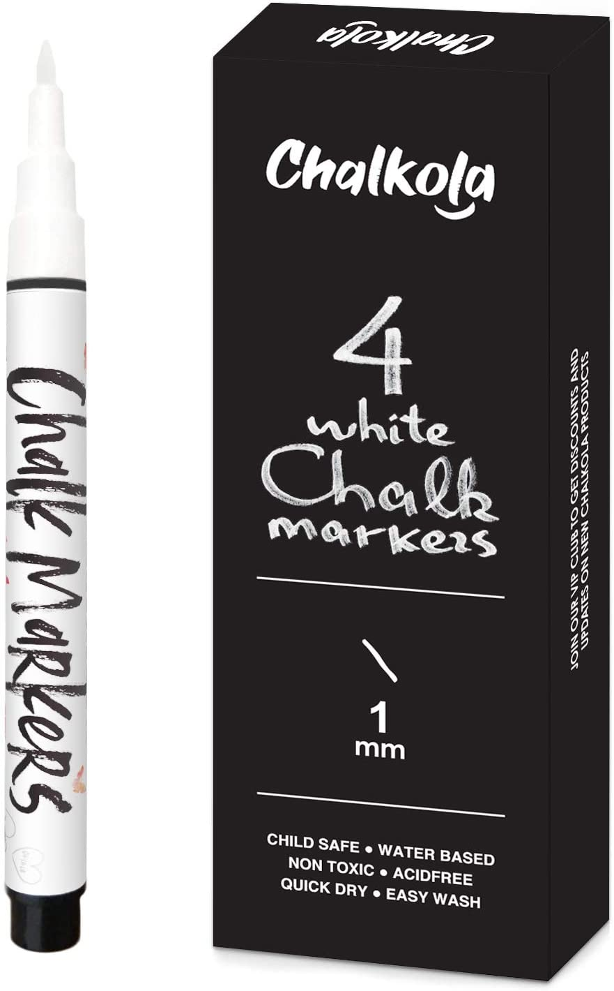 White Chalk Markers Variety Pack - 1mm to 30mm