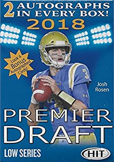 2018 Sage Hit PREMIER NFL DRAFT Low Series Factory Sealed Blaster Box of Packs with 2 GUARANTEED Autographed Cards per box! First 2018 Football Product on the market!