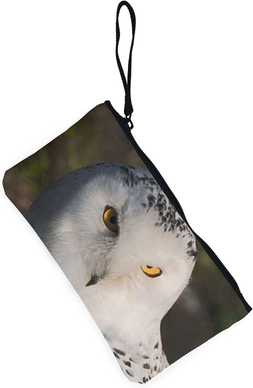 AORRUAM Snowy Owl Eyes Canvas Coin Purse,Canvas Zipper Pencil Cases,Canvas Change Purse Pouch Mini Wallet Coin Bag
